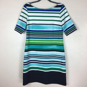 Eliza J colorful striped sheath dress
